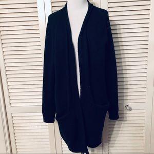 BP | 🌺 Oversized Black Open Front Pocket Cardigan